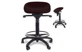 Tabouret assis debout dynamique revêtement antibactérien avec repose pieds et base polyamide