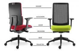 Siège ergonomique Wi Max résille mécanisme synchrone autorégulé
