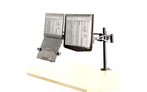 Bras double écran et ordinateur portable